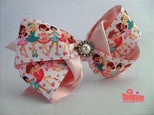 Laço Bico de Pato Coleção Tecido Fita Flor Acessórios. Fita de Gorgurão (Bailarinas Rosa Bebê) 15cm