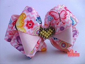 Laço Bico de Pato Coleção Tecido Fita Flor Acessórios. Fita de Gorgurão (Lúdico Rosa Bebê) 15cm