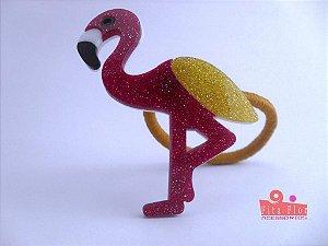 Rabicó Coleção Bichinhos Fita Flor Acessórios. Flamingo