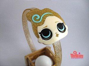 Tiara (Arco) Coleção Personagens Fita Flor Acessórios. L.O.L. Dourada com Glitter