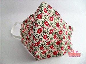Máscara Proteção Fita Flor Acessórios Estampa 2 - Adulto