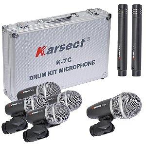 Kit De Microfones P/ Bateria Karsect K7c C/ 7 mics E Case Aluminio