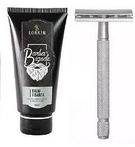 Balm para Barba e Bigode 60g Lorkin  + Barbeador Clássico