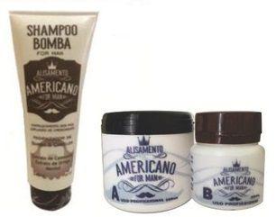 Alisamento Americano  para Homens + Shampoo Bomba