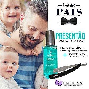 Kit After Shave Gel Após Barba 55g Pierre Alexander e Navalhete Enox Belliz