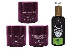 KIT 3 Und Desodorante Pierre Alexander Creme Antitranspirante + Shampoo Lorkin