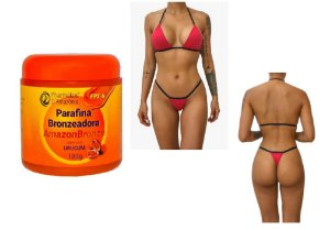 Kit  Parafina Bronzeadora - Amazonbronze - Pharmakos - 180g Brinde Biquíni