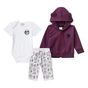 Conjunto casaco, body e calça Milon