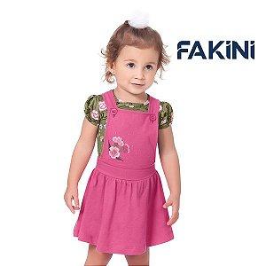 Conjunto blusa e jardineira Fakini