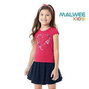 Conjunto blusa e saia short Malwee