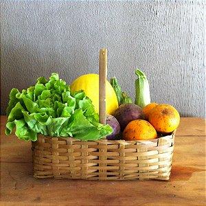 Cesta pequena de produtos orgânicos