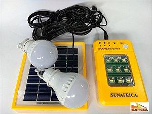 Kit Painel Placa Solar Com Bateira + 2 Lâmpadas Led Camping
