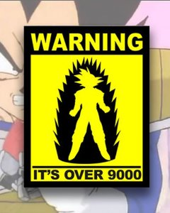 Placa Decorativa - Warning It Is Over 9000 - Dragon Ball Z