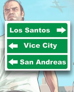 Placa Decorativa - Los Santos - Mapa GTA