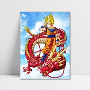 Poster A4 Dragon Ball Z - Goku SSJ Red Dragon