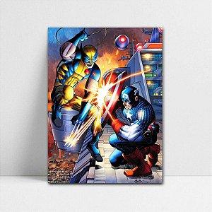 Poster A4 Marvel - Wolverine vs Capitão América