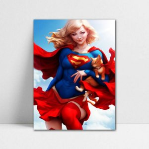 Poster A4 DC - Supergirl and Streaky