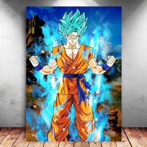 Placa Decorativa MDF Goku Blue Saiyan - Dragon Ball Super - PMDF14