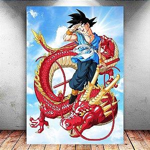 Placa Decorativa MDF Goku Red Dragon - Dragon Ball Z - PMDF19