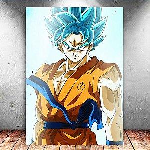 Placa Decorativa MDF Goku Blue Aura - Dragon Ball Super - PMDF21