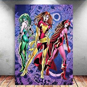 Placa Decorativa MDF Phoenix, Scarlet Witch, Polaris - Marvel - PMDF124