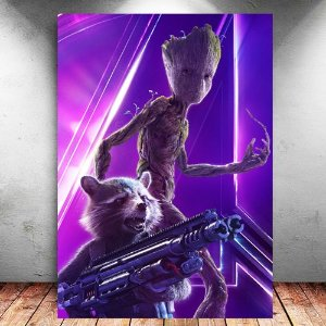 Placa Decorativa MDF Groot e Rocket Avengers Infinity War - Marvel