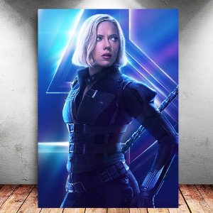 Placa Decorativa MDF Black Widow Avengers Infinity War - Marvel