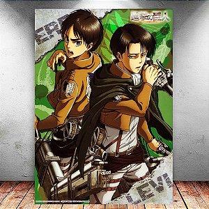 Placa Decorativa MDF Eren e Levi - Attack on Titan - PMDF77
