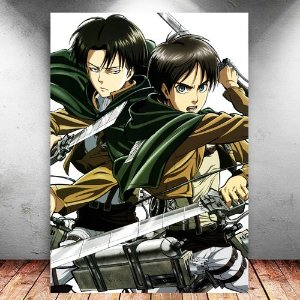 Placa Decorativa MDF Eren e Levi - Attack on Titan - PMDF78
