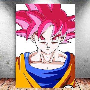 Placa Decorativa MDF Goku SSJ God - Dragon Ball - PMDF107