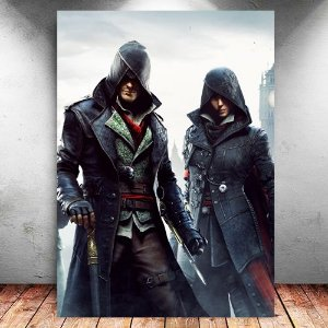 Placa Decorativa MDF Jacob e Evie - Assassin's Creed - PMDF324