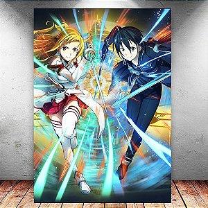 Placa Decorativa MDF Kirito e Asuna - Sword Art Online - PMDF166
