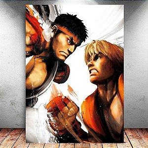 Placa Decorativa MDF Ryu e Ken - Street Fighter - PMDF369