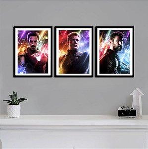Kit Quadro Decorativo Trindade Vingadores - Marvel  - KQV15