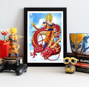 Quadro Decorativo Goku SSJ Red Dragon - Dragon Ball - QDB16