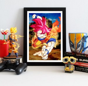 Quadro Decorativo Goku God - Dragon Ball - QDB11