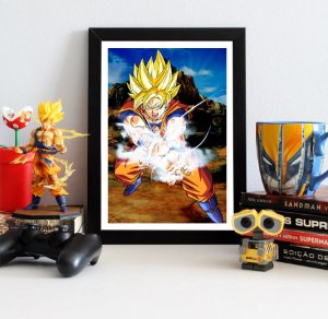 Quadro Decorativo Goku Super Saiyajin 2 - Dragon Ball - QDB10