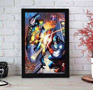 Quadro Decorativo Marvel - Wolverine vs Capitão América