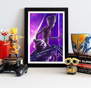 Quadro Decorativo Avengers Infinity War - Groot e Rocket