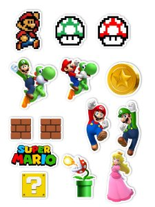 Ímãs Decorativos Super Mario Set A - 14 unid