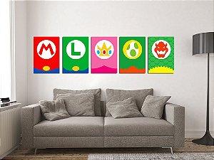 Kit 5 Placas Decorativas MDF Super Mario Bros - KMDF20