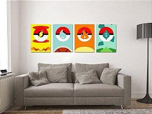 Kit 4 Placas Decorativas MDF Pokémon - KMDF23