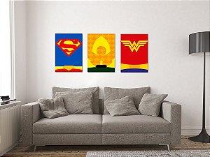 Kit 3 Placas Decorativas MDF Justice League - KMDF22