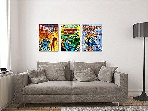 Kit 3 Placas Decorativas MDF Capas Quarteto Fantástico - KMDF41
