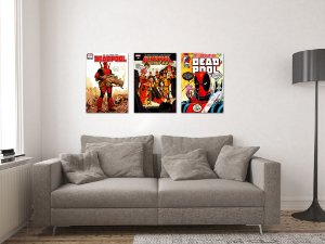Kit 3 Placas Decorativas MDF Capas Deadpool - KMDF43