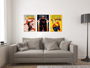 Kit 3 Placas Decorativas MDF Capas Capitã Marvel - KMDF45