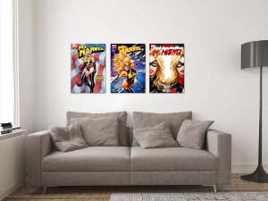 Kit 3 Placas Decorativas MDF Capas Miss Marvel - KMDF46