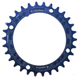Coroa Calypso em Alumínio CNC 30T BCD 104 padrão Shimano Azul