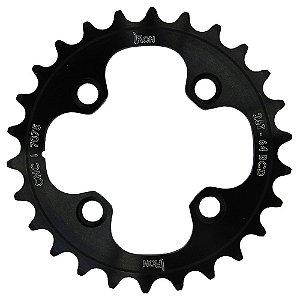 Coroa Iron Indexada BCD64 26T Shimano Duplo 7000/8000 Preto