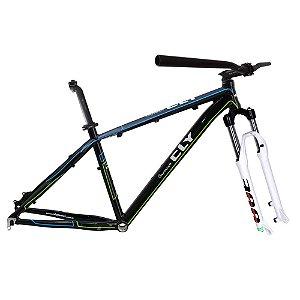 Kit Quadro Bicicleta Cly A2 27.5x17 com Suspensão Spinner 300 Preto